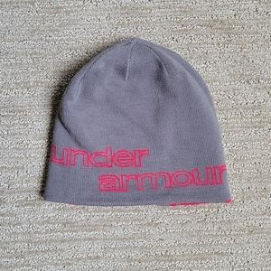 Under Armour Gray and Pink Reversible Beanie OS